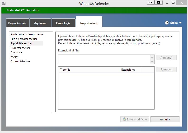 Come inserire le esclusioni in Windows Defender  3